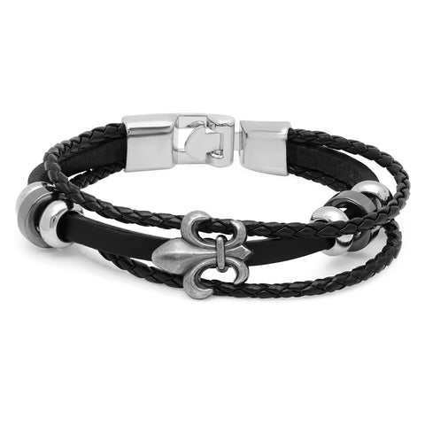 Men's Alloy and Simulated Leather Bracelet With Fleur-de-List Accent