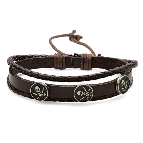 Men's Genuine Leather Bracelet in Brown with Alloy Base Skull Accent