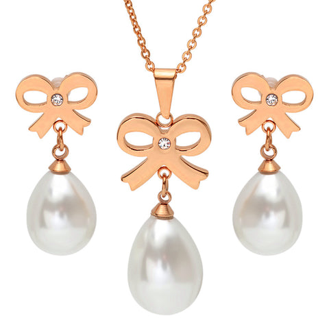 18 KT Rose Gold Plated Earring/Pendant with Bows and Pearl Drops