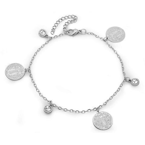 Ladies Stainless Steel Anklet Bracelet with Simulated Diamonds