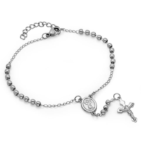 Ladies Stainless Steel Rosaries Bracelet with Cross Design