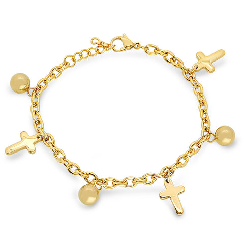 18k Gold Plated Stainless Steel Bracelet with Simulated Pearls & Crosses
