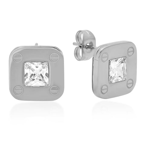 Stainless Steel Stud Earrings With Screws and CZ Stones Accent