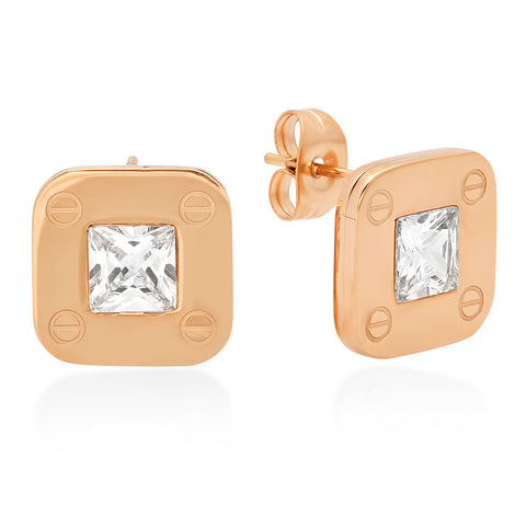 18kt Rose Gold Plated Stainless Steel Stud Earrings with Screws and CZ Stones Accent