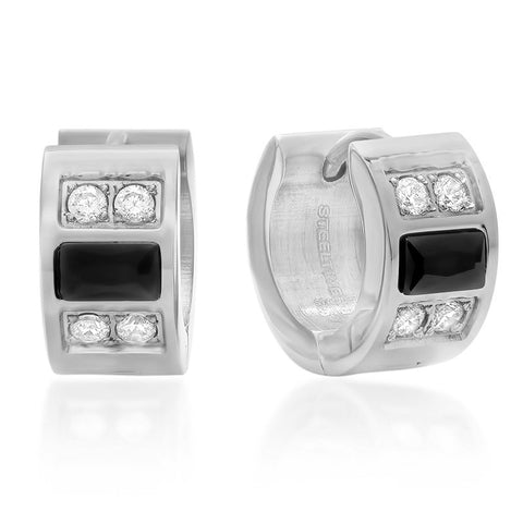 Stainless Steel Huggie Earrings with Simulated Diamonds and Black IP