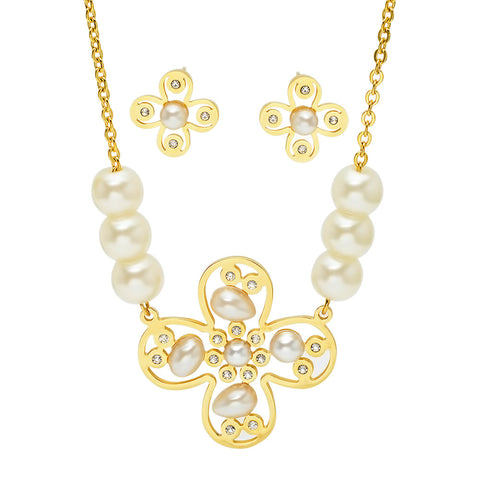 18kt Gold Plated Stainless Steel Earring/Necklace Set with Simulated Pearls and CZ Stones
