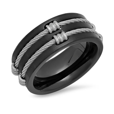Black Stainless Steel Wire Inlay Rings