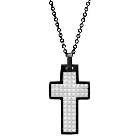 Black IP Stainless Steel Cross Pendant