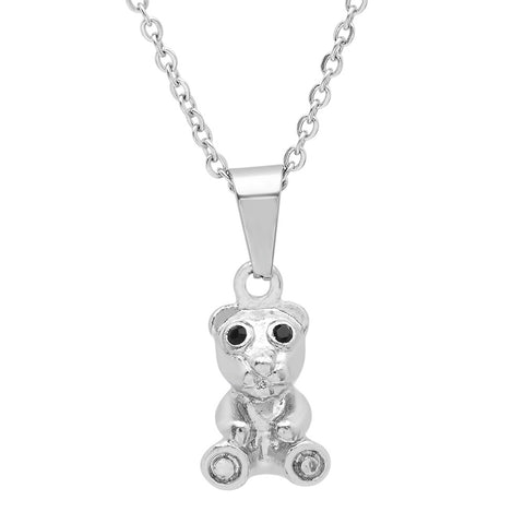 Steeltime Stainless Steel Necklace With Teddy Bear