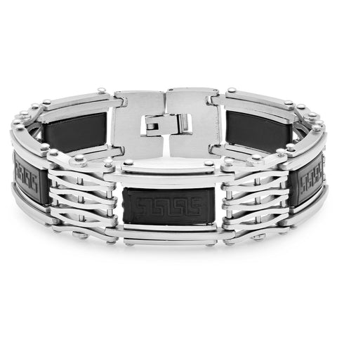 Men's Stainless Steel & Rubber Bracelet