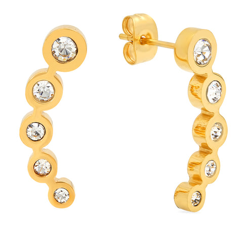 Ladies 18 KT Gold Plated 5 Circular Diamond Studded Ear Climbers