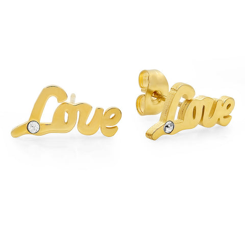 "18kt Gold Plated Stainless Steel Stud Earrings with ""Love"" and SW Stones Design"