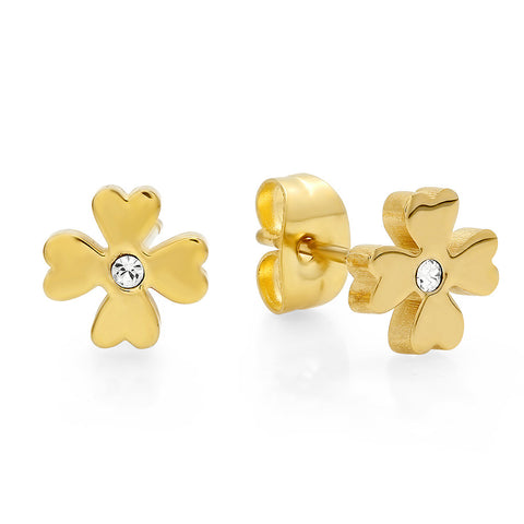 18kt Gold Plated Stainless Steel Flower Design Stud Earrings with SW Stones