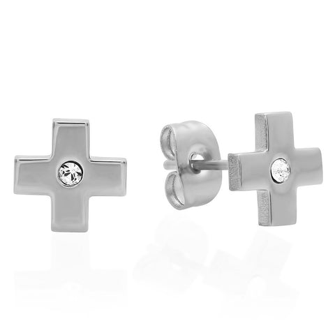 Ladies Stainless Steel Cross Design Stud Earrings