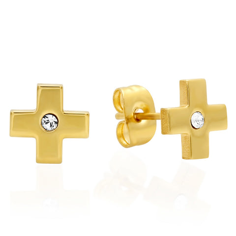 18kt Gold Plated Stainless Steel Cross Design Stud Earring with SW Stones