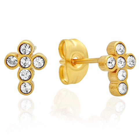 18kt Gold Plated Stainless Steel Stud Earrings with Cross and SW Stones Design