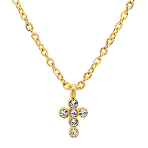18kt Gold Plated Stainless Steel Cross and SW Stones Necklace