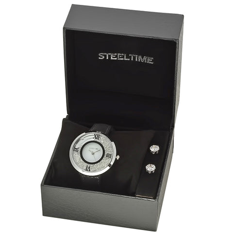 Stainless Steel Watch and Earring Set