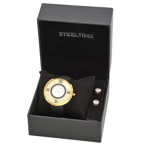 18kt Gold Plated Stainless Steel Watch/Earring Set