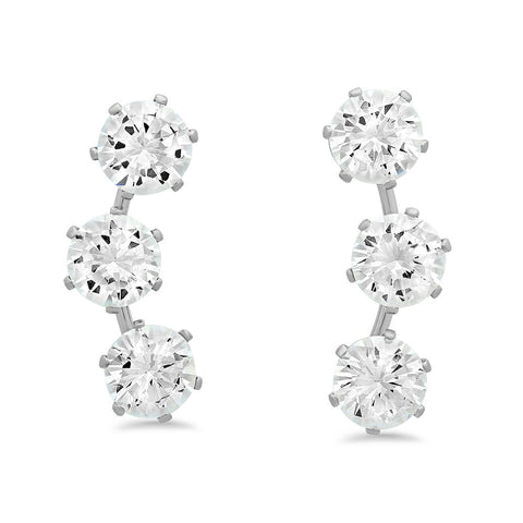 Steeltime Silvertoned Simulated Diamond Ear Climbers