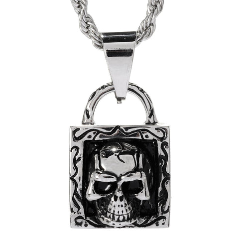Steeltime Stainless Steel Pendant With Skull & Lock Accent