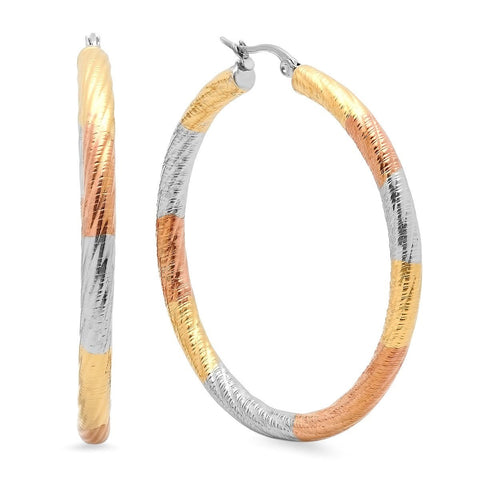 Tricolor Twisted Hoop Earrings