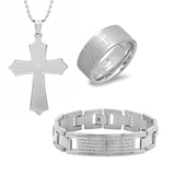 Set of 3 Our Father Prayer Bracelet, Pendant, and Ring Set