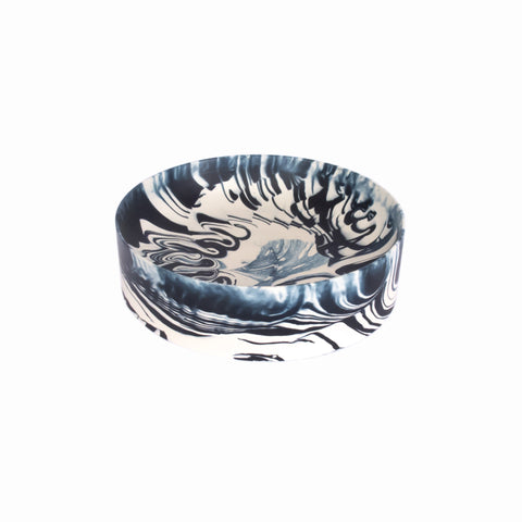Poured Bowl (large, white & dark blue)