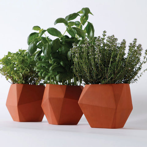 Geometric Pots (set of 3, unglazed)