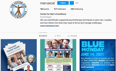 Instagram account for The Center for Men's Excellence
