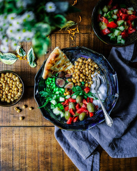 nourishing vegan meal laid out on table