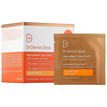 DR Dennis Gross Alpha Beta Glow Pad Self Tanner for Face Gradual Glow - 20 packettes
