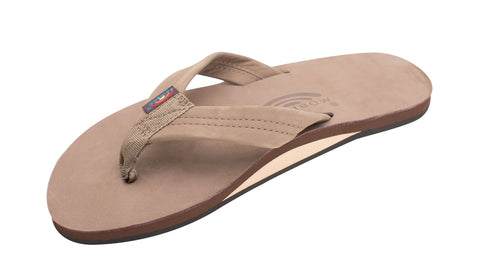 Rainbow Sandal Single Layer Premier Leather Dark Brown