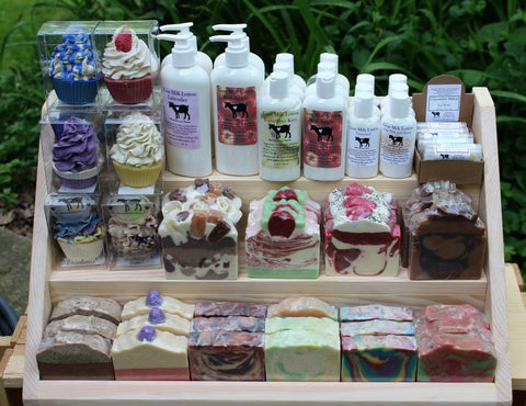 Point of sale display whitetail lane farm goat milk soap