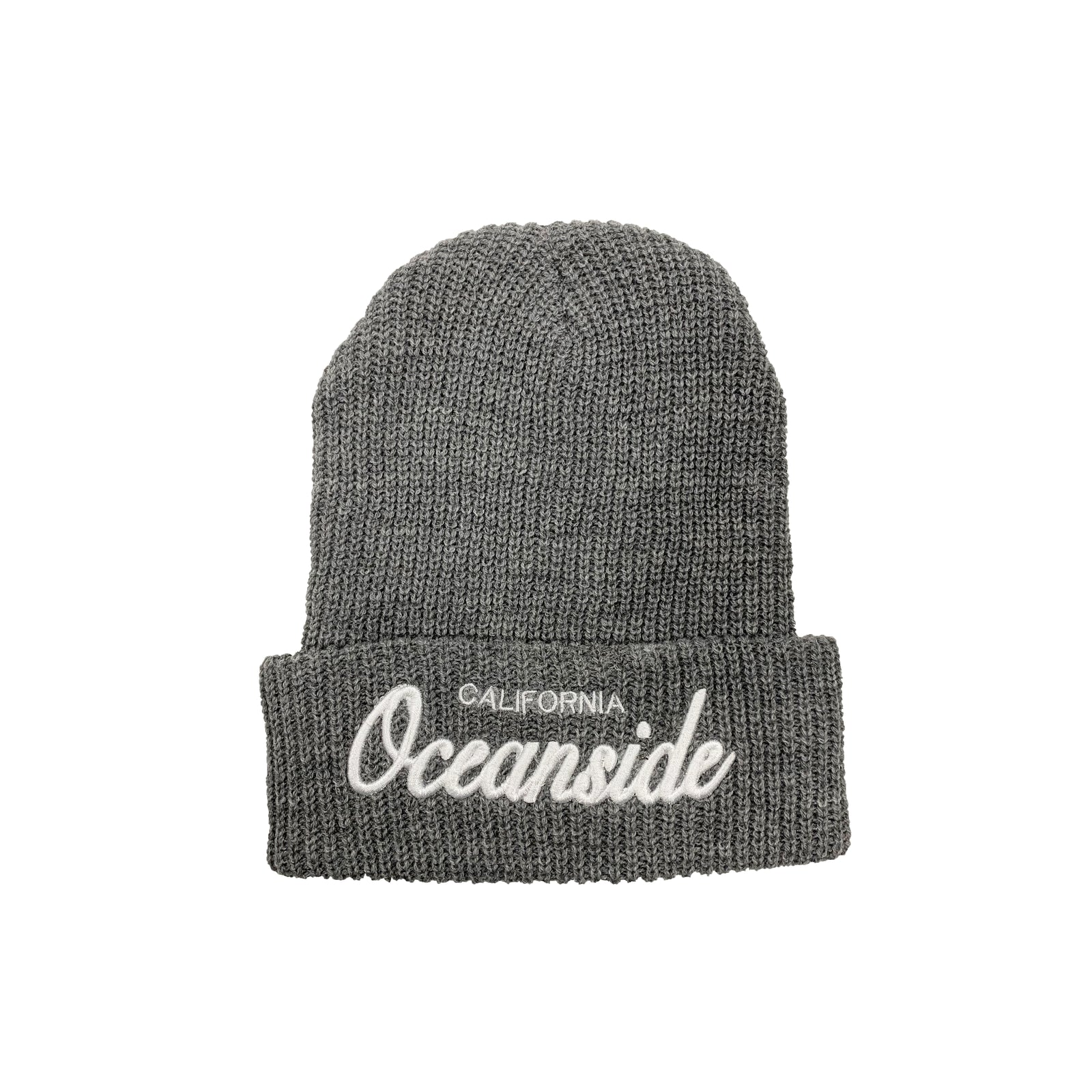 Oceanside Cursive Knitted Beanie (Grey)