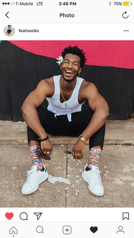 Willie Jones photographed wearing FEAT Socks