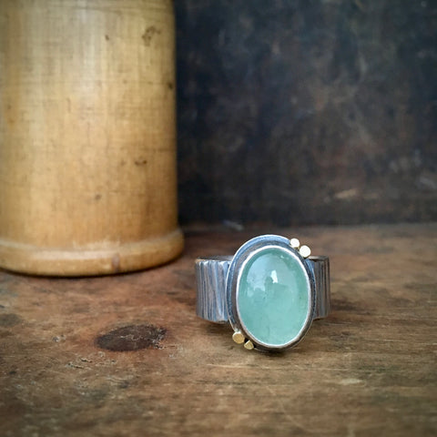 Galaxy Balance Ring with Aquamarine, wide band