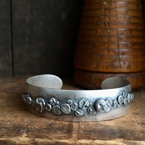 Lunar Path Cuff Bracelet with Aquamarine