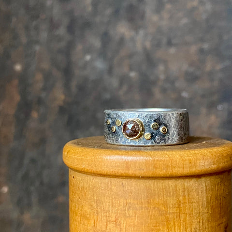 Galaxy Stardust Ring with Diamond