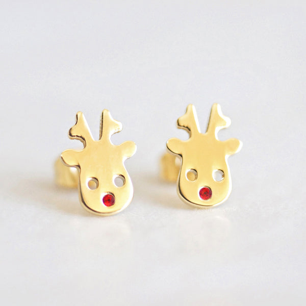 Rudolph reindeer stud earrings - gold