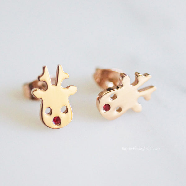 Rudolph Reindeer stud earrings - rose gold