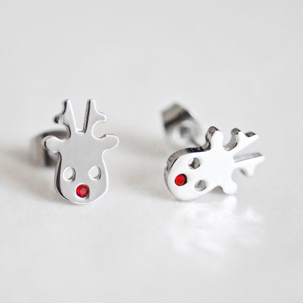 Rudolph Reindeer stud earrings - steel silver
