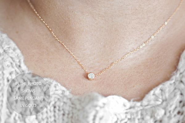 Crystal Clover Necklace - sterling silver