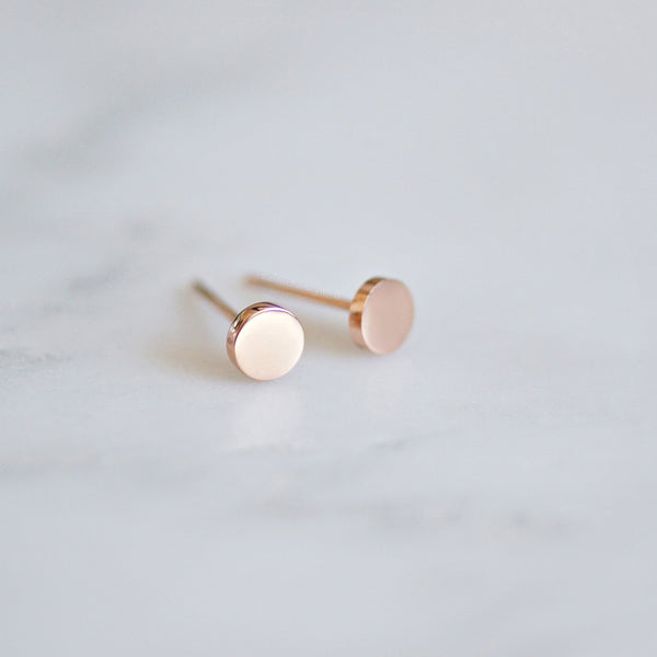 Dot Stud Earrings - rose gold - 2 sizes