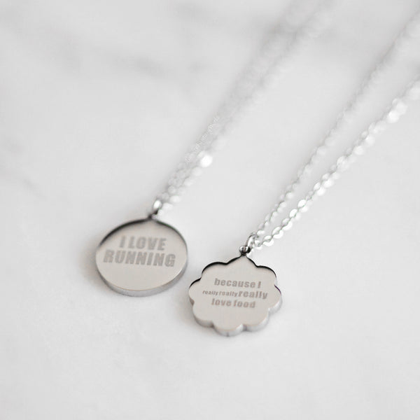 Runner Foodie Necklace - steel silver