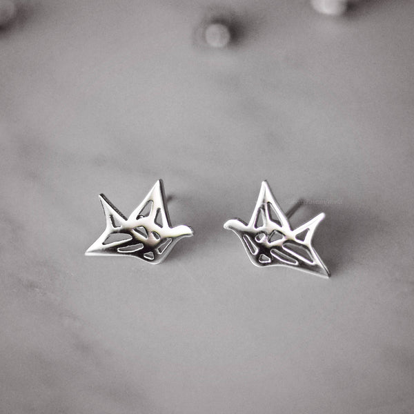 Origami Crane Stud Earrings - 3 colours