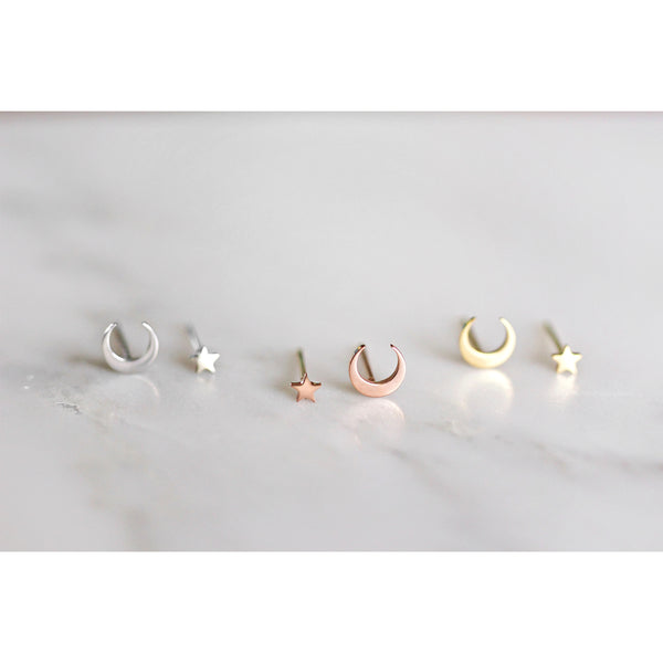 Moon Star Stud Earrings - 3 colours