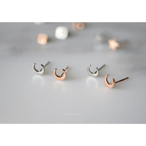 Crescent Moon Stud Earrings - 3 colours & titanium