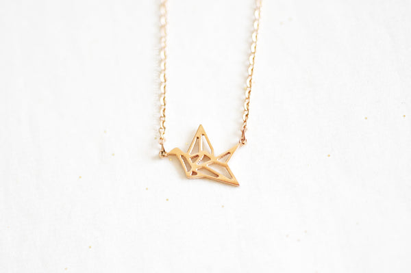 Origami Crane Necklace - rose gold
