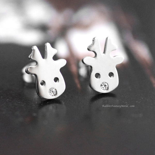 Reindeer Stud Earrings - steel silver